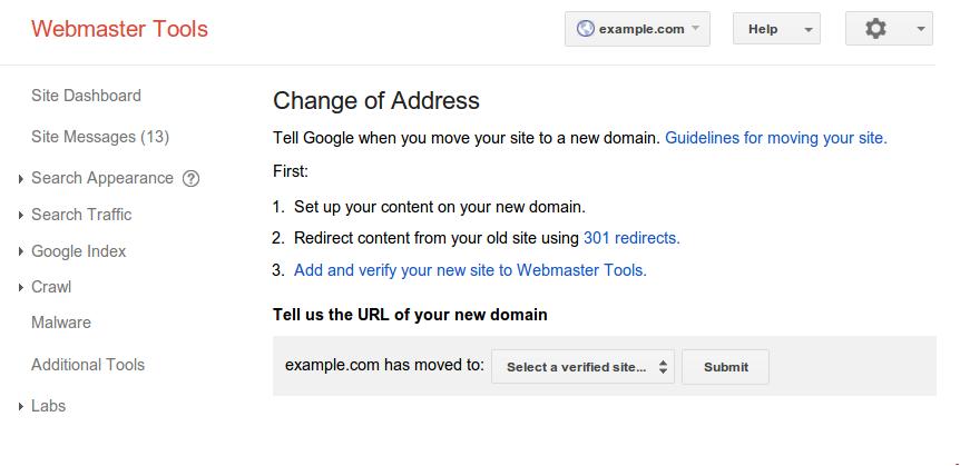 Webmaster Tools - Change of Address